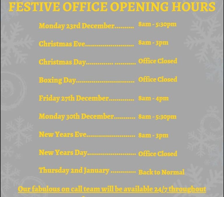 Festive Office Opening Hours